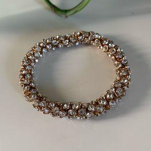 Gold and Rhinestone Stretch Bracelet